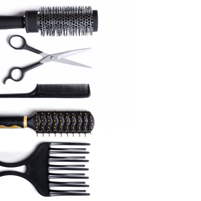 """Hairdressing accessories set isolated"" stock image"