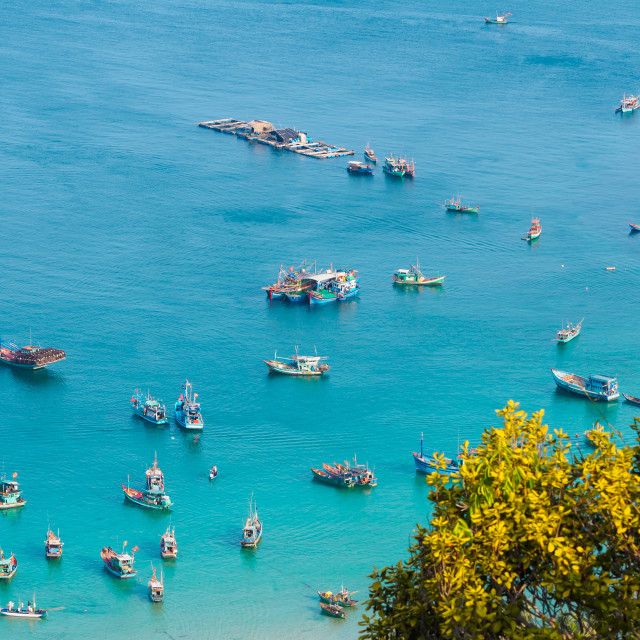 """Aerial view of Fishing boats in Nam Du Islands"" stock image"