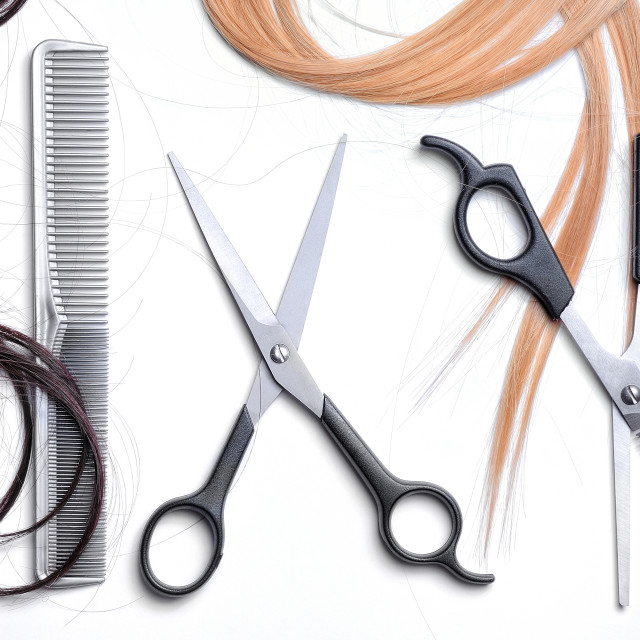 """""""Two scissors and comb barber with hair isolated top"""" stock image"""