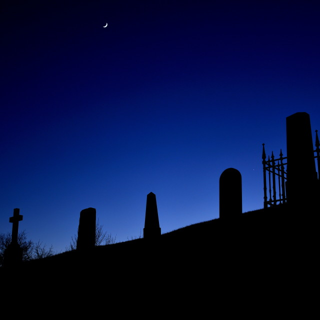 """Cemetary at night"" stock image"