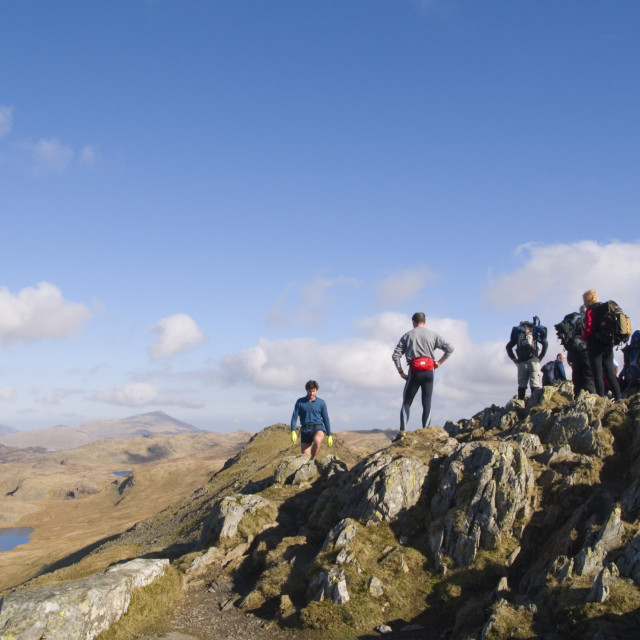 """Hikers on Cnicht Snowdonia Wales UK"" stock image"