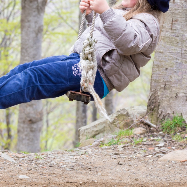 """""""the old swing and the young child"""" stock image"""