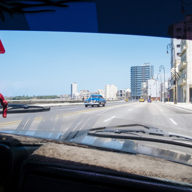 """Driving along the Malecon in Havana Cuba"" stock image"