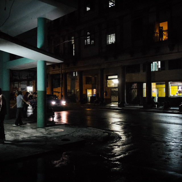"""Old Havana at night"" stock image"
