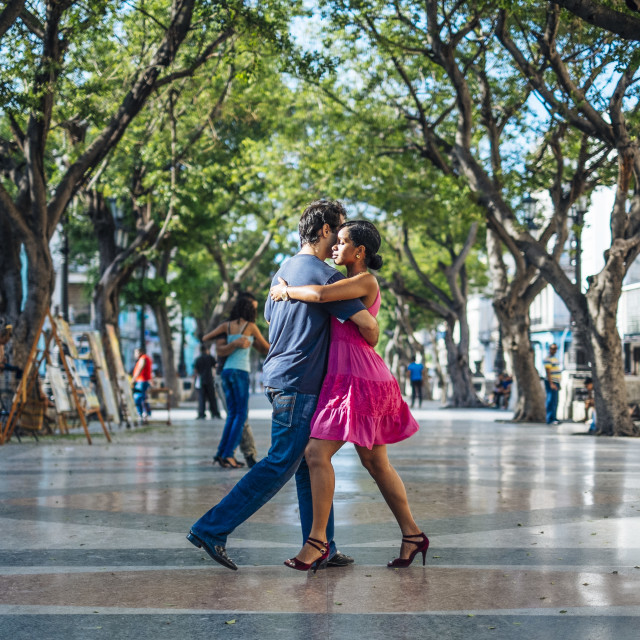 """A couple dance the Tango in Havana Cuba"" stock image"