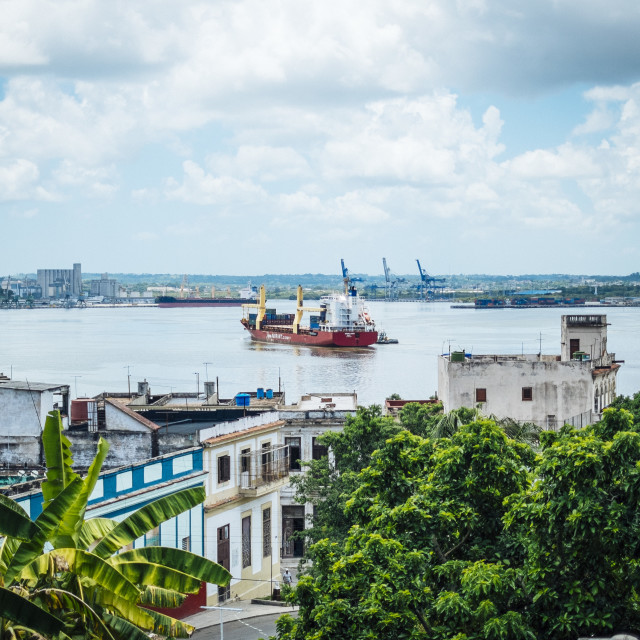 """Looking across the harbour from Casablanca to Old Havana Cuba."" stock image"