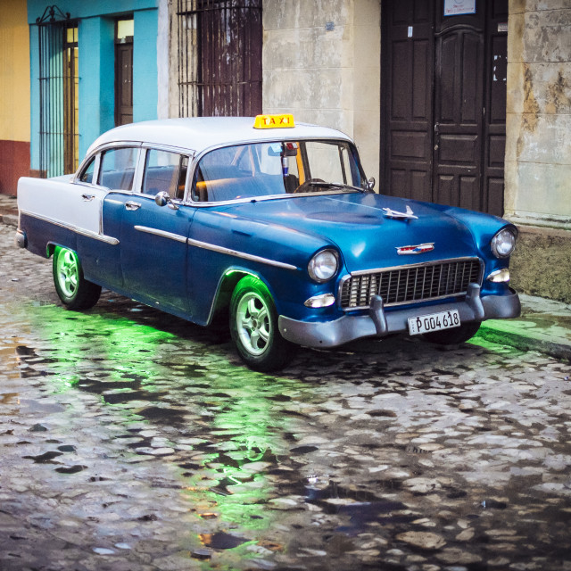 """An old American car in Trinidad Cuba"" stock image"