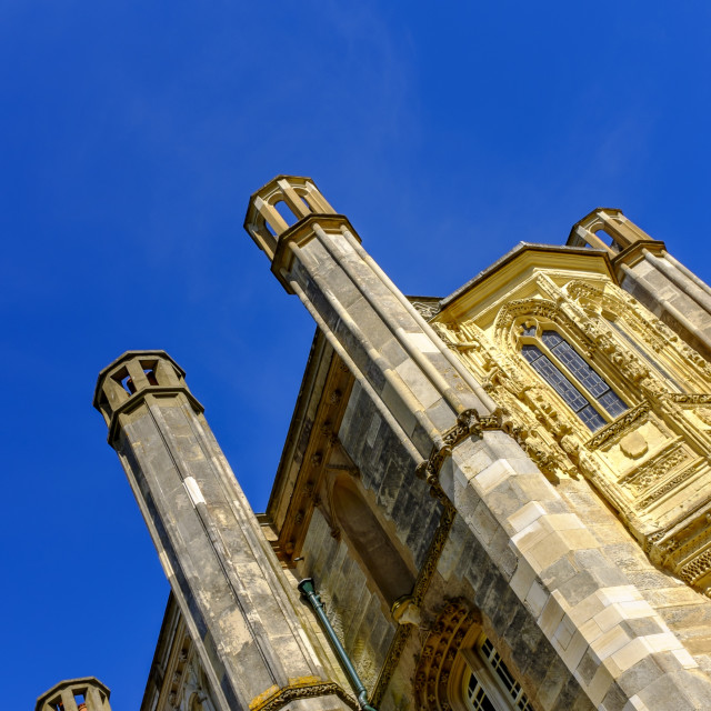 """""""Castle Tower with deep blue sky"""" stock image"""