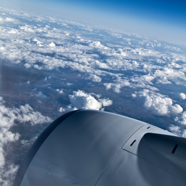 """Cloudscape from airplane"" stock image"