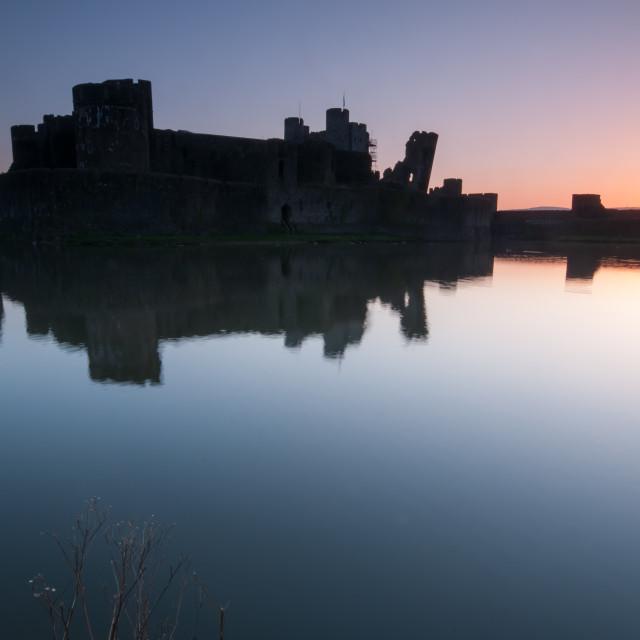 """""""Caerphilly Castle Sunrise"""" stock image"""