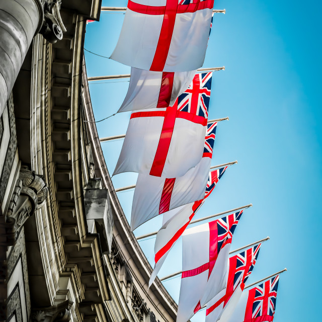 """England Flags Flying In The Wind"" stock image"