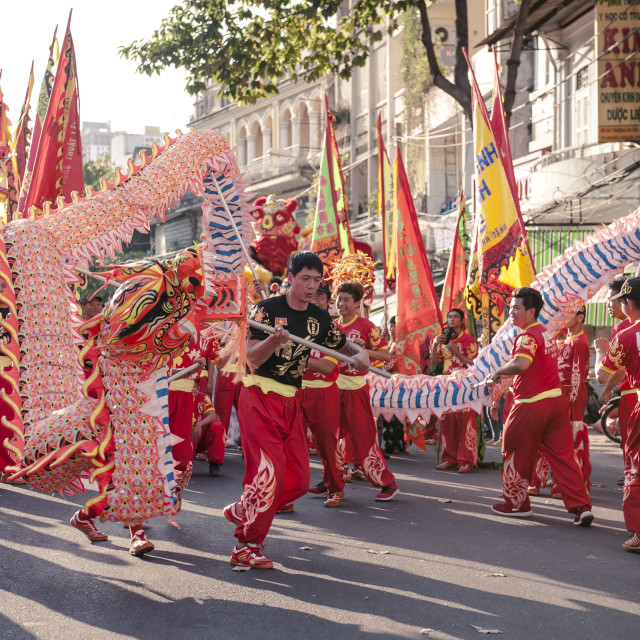 """The Annual Parade of Dragons in Cho Lon on The First Full Moon Day."" stock image"