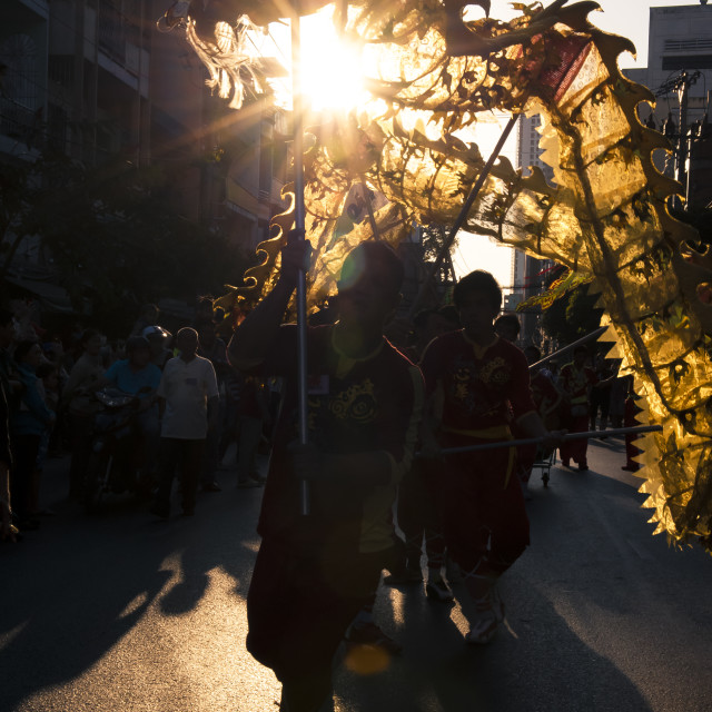 """The Annual Parade of Dragons in Cho Lon on The First Full Moon Day"" stock image"