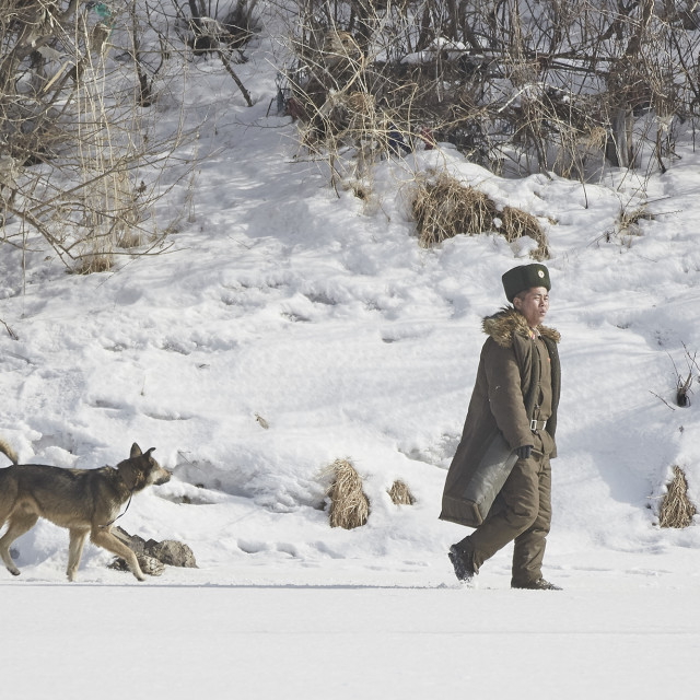 """North Korean border guard with german shepard"" stock image"
