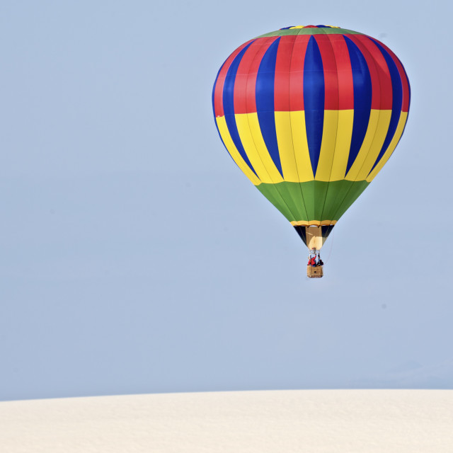 """Hot Air Balloon over White Sands"" stock image"