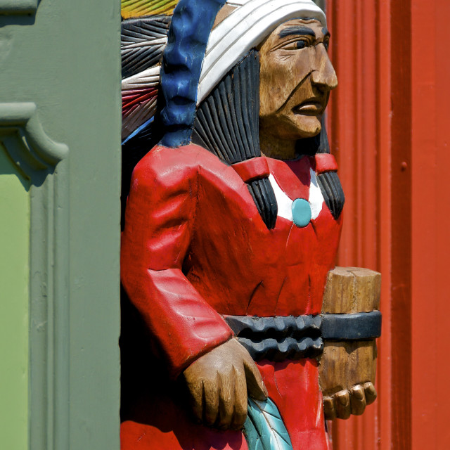 """Red Wooden Indian"" stock image"