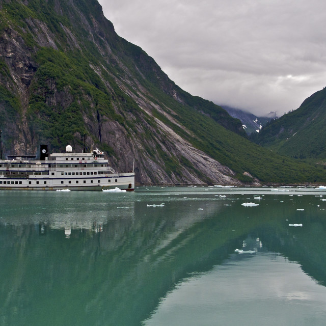 """Ship in Tracy Arm Fjord"" stock image"