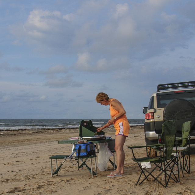 """Cooking on the Beach"" stock image"