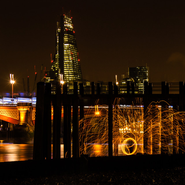 """Light painting London at night"" stock image"