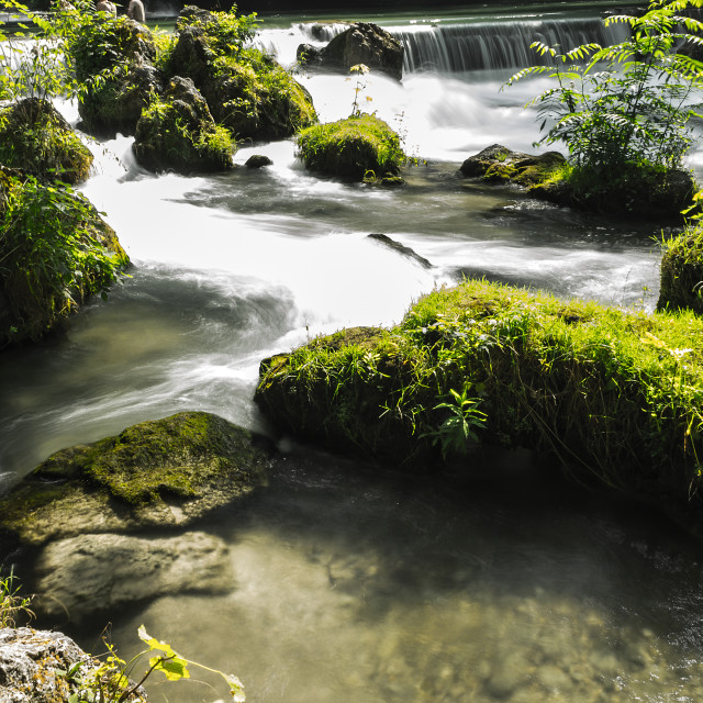 """""""A river flows in Munich"""" stock image"""