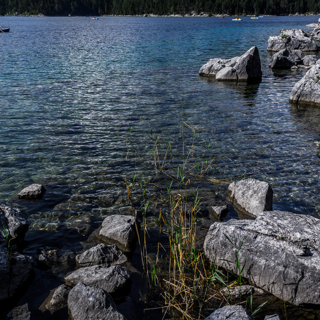 """Sunny day at Eibsee"" stock image"