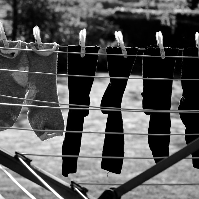 """Black White Socks on Clothes Line"" stock image"