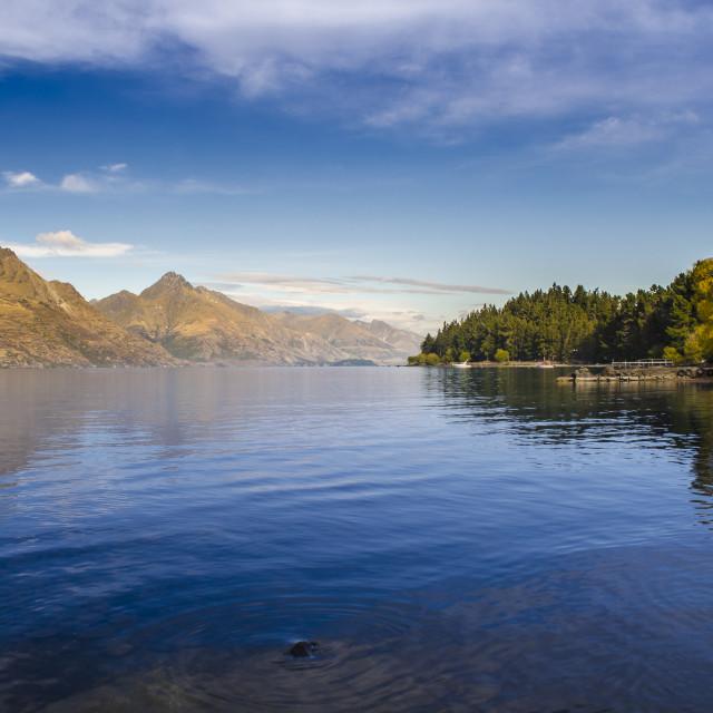 """""""Calm Waters - Lake Wakatipu, Queenstown, New Zealand"""" stock image"""