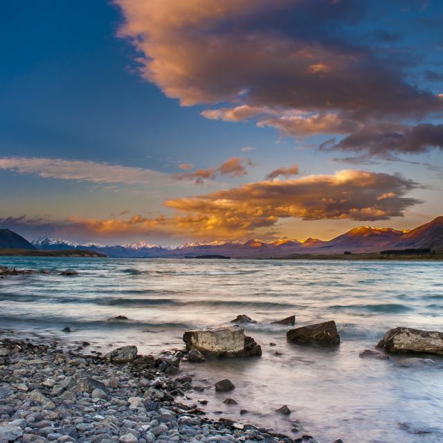 """""""Sunset - Lake Tekapo, New Zealand"""" stock image"""