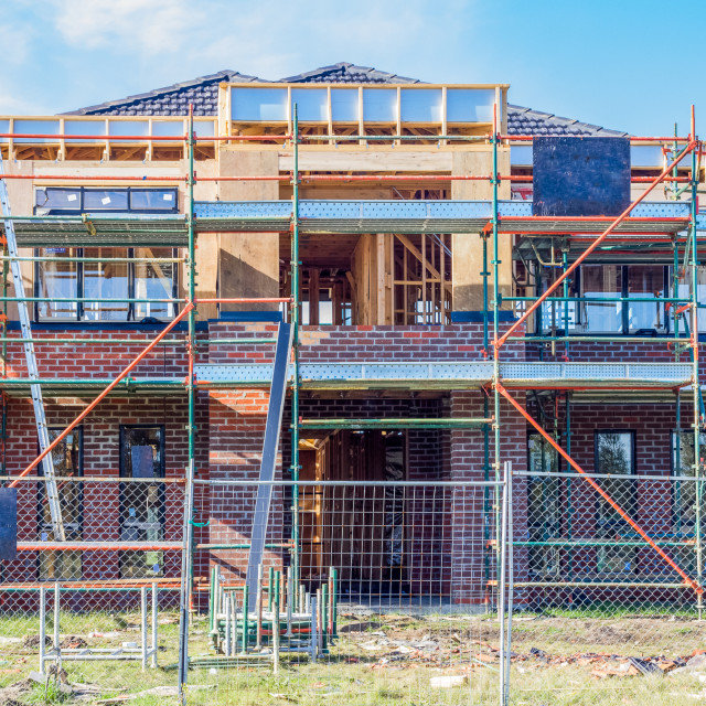 """""""Modern home under construction"""" stock image"""