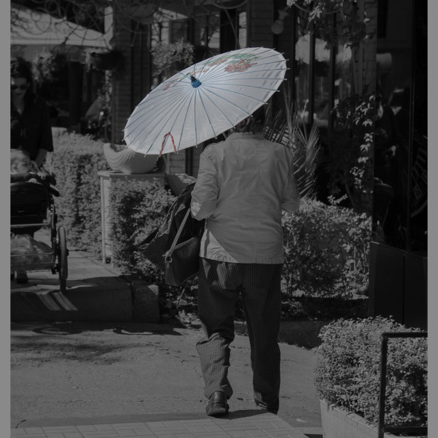 """Lady with umbrella"" stock image"