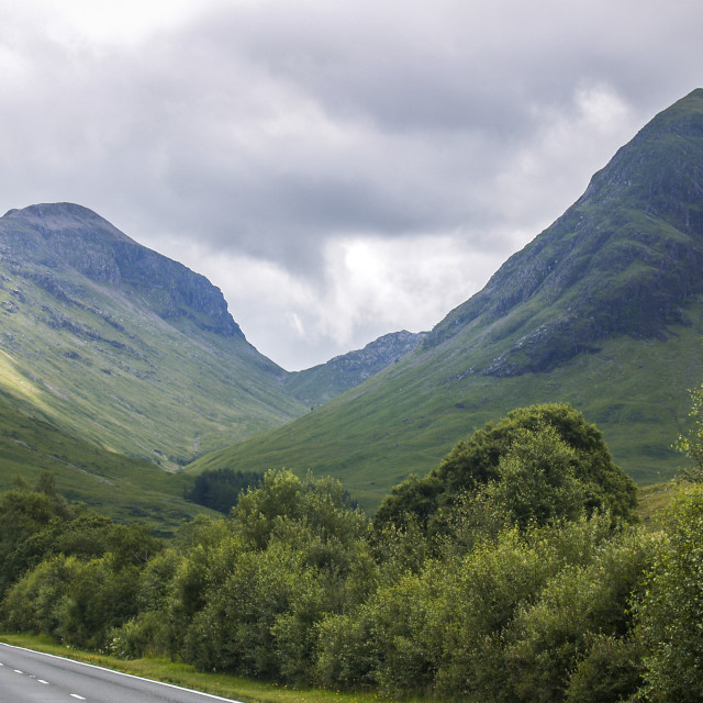 """Main road through Scotland Landscape"" stock image"
