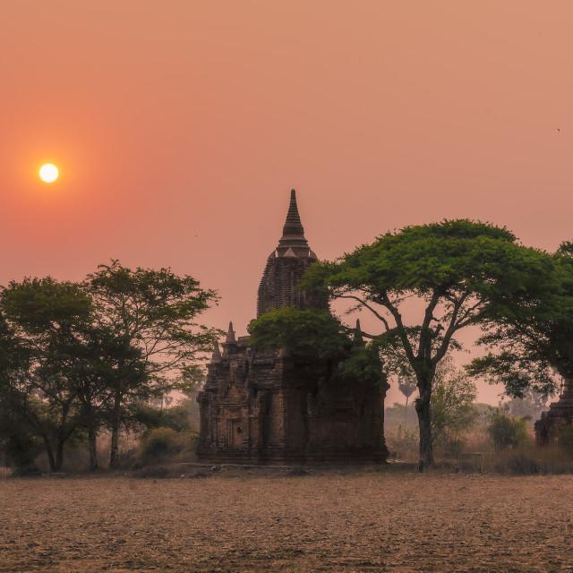 """Sunrise over temples of Bagan in Myanmar"" stock image"