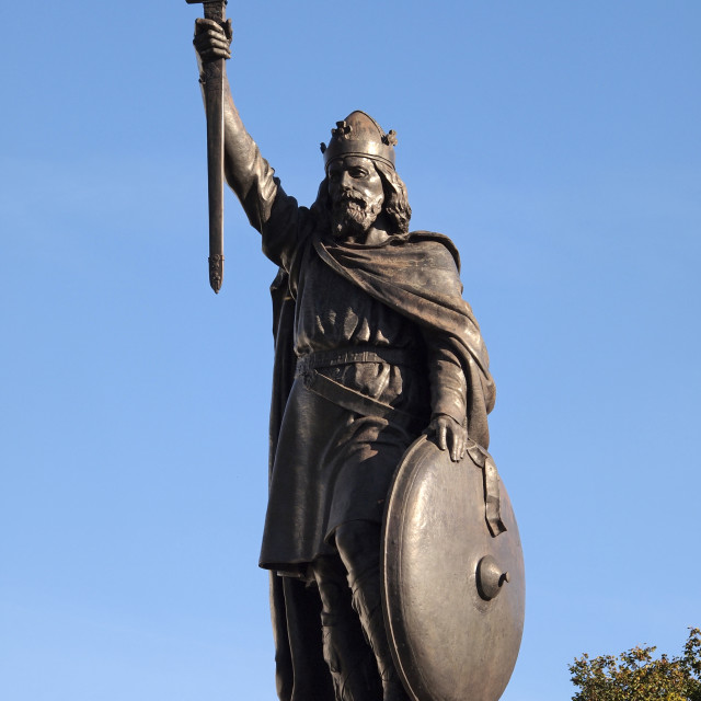 """""""King Alfred Statue, Winchester"""" stock image"""