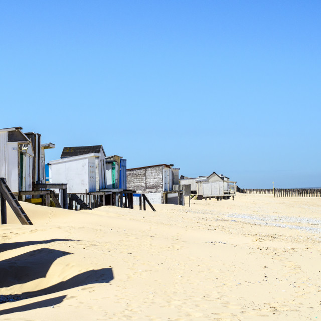"""Old beach huts."" stock image"