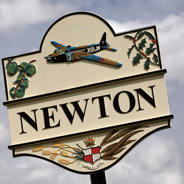 """NEWTON VILLAGE SIGN"" stock image"