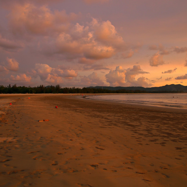 """The beach at dusk"" stock image"