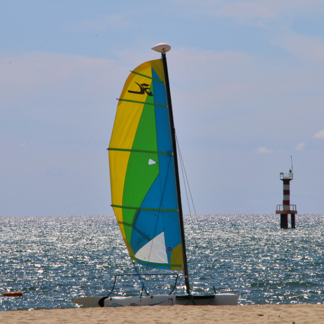 """Catamaran at the beach"" stock image"