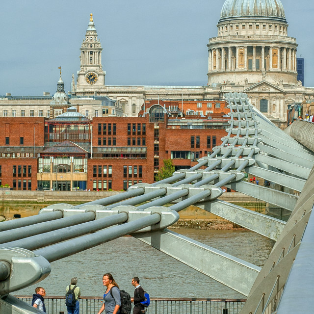 """St. Paul's and the Millennium Bridge"" stock image"