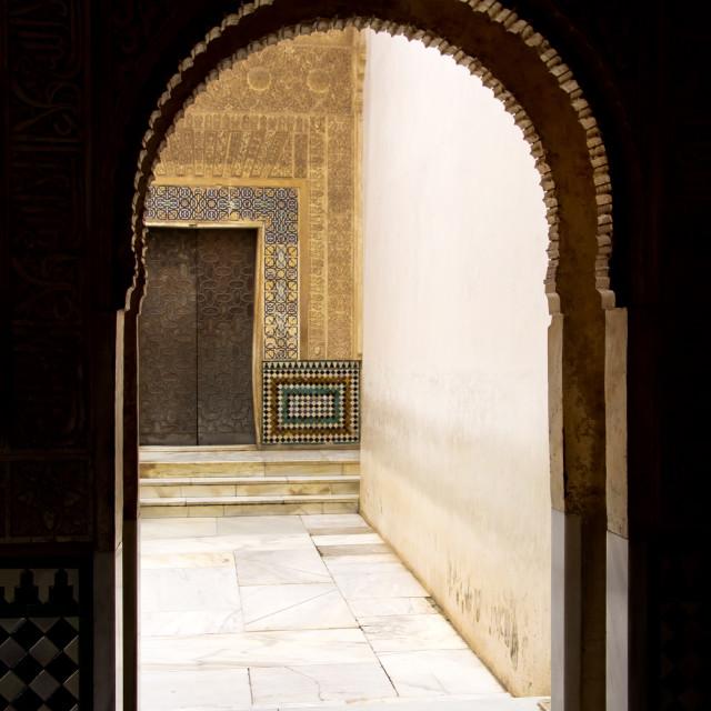 """arch door in ancient Arabian palace Alhambra. Granada, Spain"" stock image"