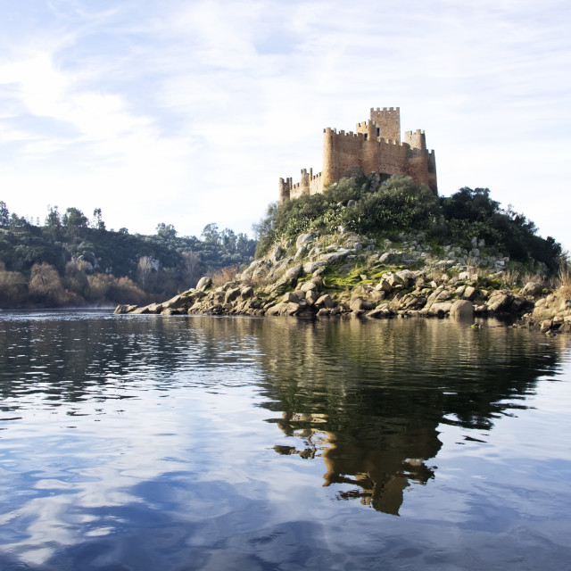 """Almourol castle located on Tejo river"" stock image"