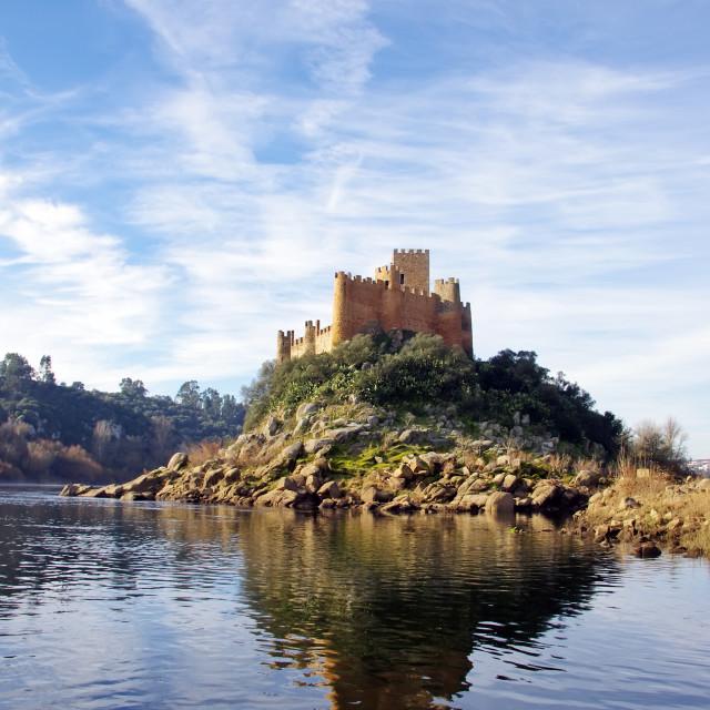 """Almourol castle located in small island on Tejo river"" stock image"