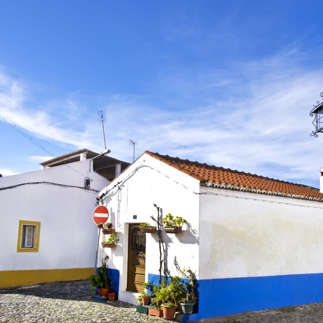 """streets and houses of Vila Vicosa, Alentejo, Portugal"" stock image"