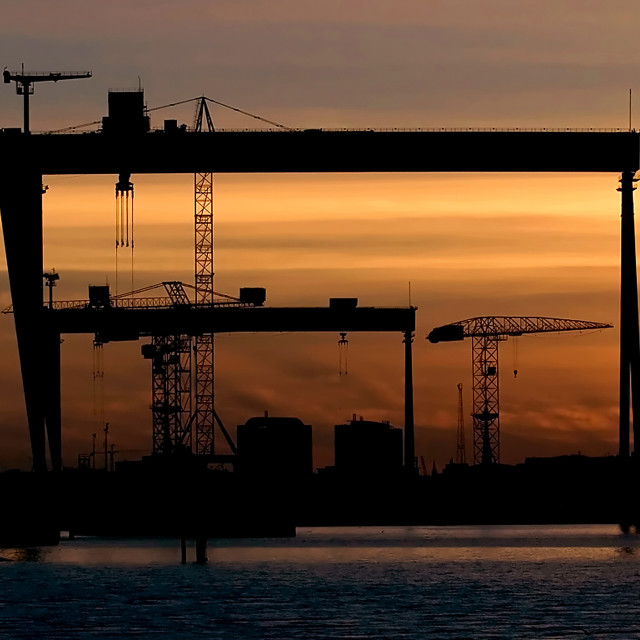 """Harland and Wolff Cranes in Belfast"" stock image"