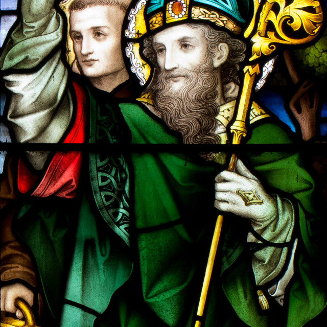 """""""Saint Patrick Stained Glass Window"""" stock image"""