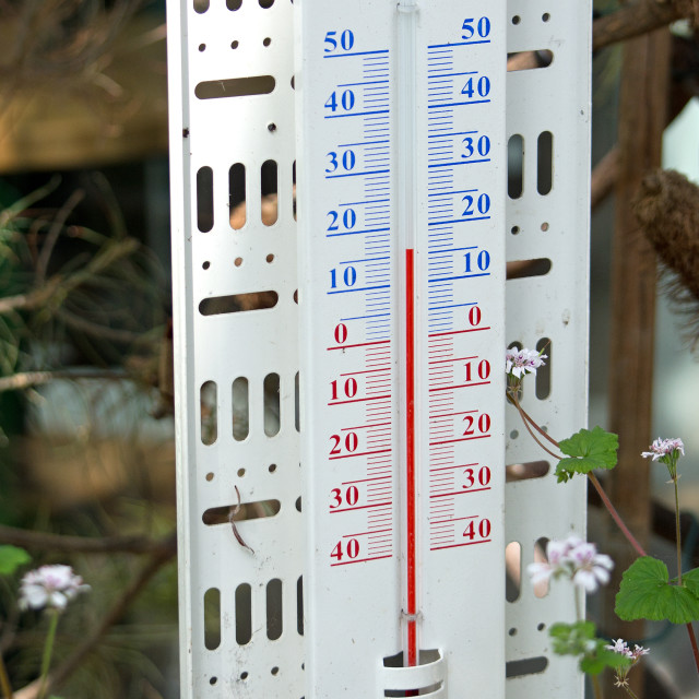 """""""Thermometer showing spring temperature"""" stock image"""