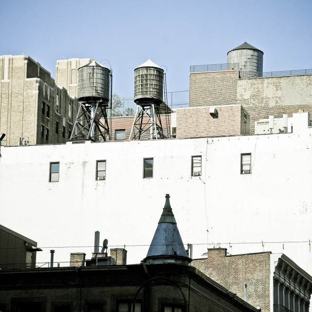 """""""Water tanks on rooftops NYC"""" stock image"""