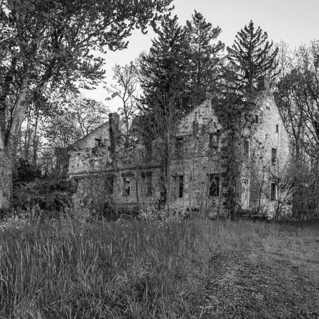 """Crumbling Old Stone Farm House"" stock image"