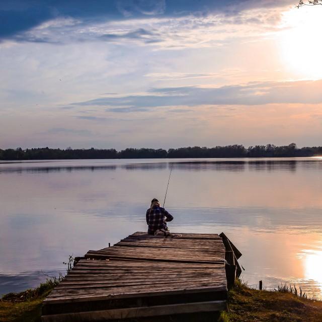 """Lake.Sunset."" stock image"