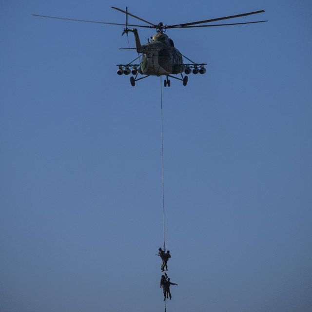 """Military helicopter rescue soldiers"" stock image"