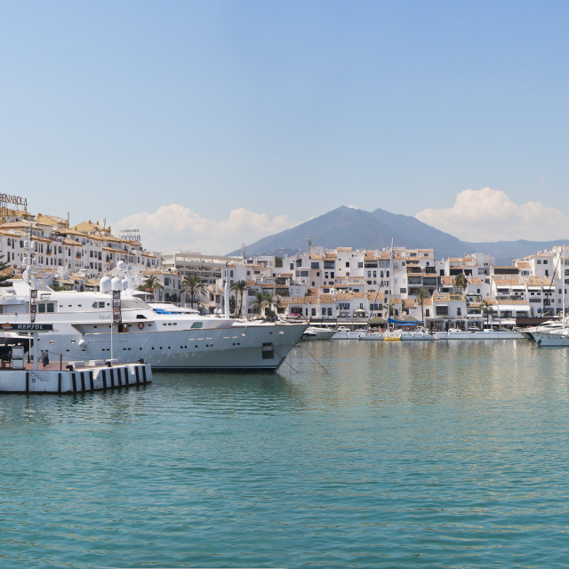 """Panoramic of Puerto Banus, Marbella, Spain"" stock image"